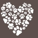 Dog Paw Prints Heart by Jenn Inashvili