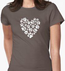 Dog Paw Prints Heart T-Shirt