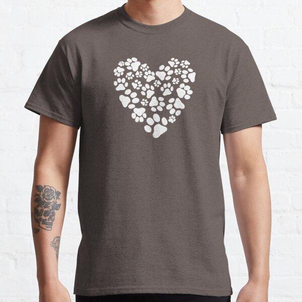 Pata de perro imprime corazón Camiseta clásica