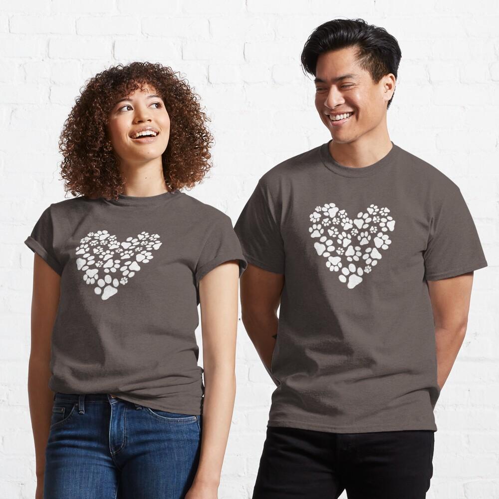 Dog Paw Prints Heart Classic T-Shirt