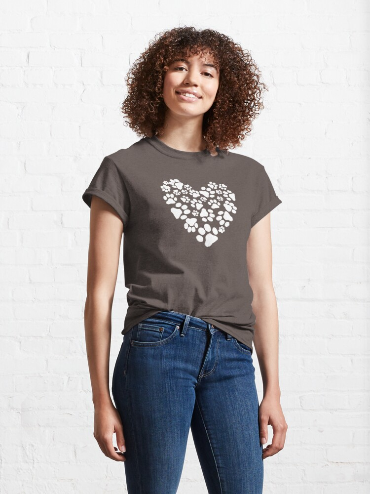 Alternate view of Dog Paw Prints Heart Classic T-Shirt