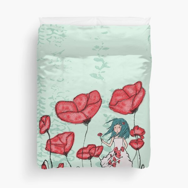 Girl with Poppies Duvet Cover