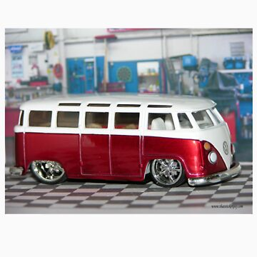 VW BUS red low and cool by thatstickerguy