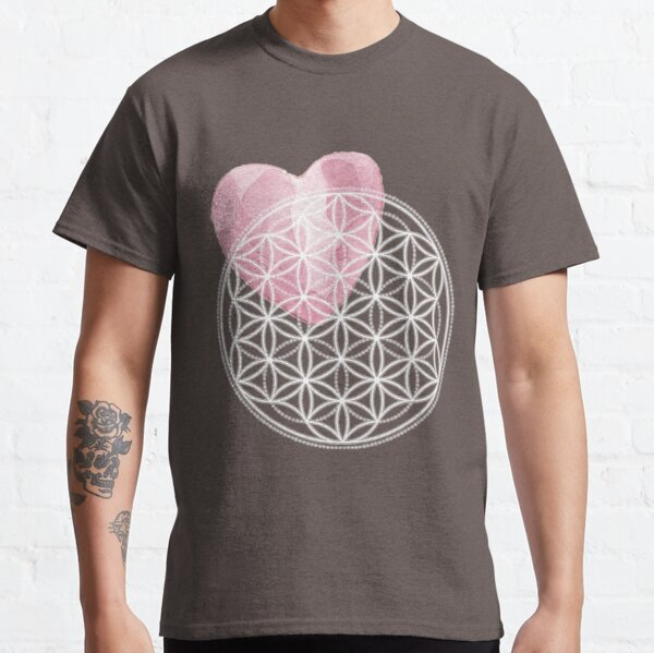Flower of Life with Watercolor Heart - Sacred Geometry Classic T-Shirt
