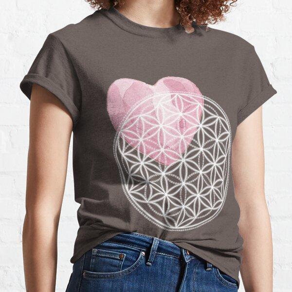 Blume des Lebens mit Aquarell-Herz - Heilige Geometrie Classic T-Shirt