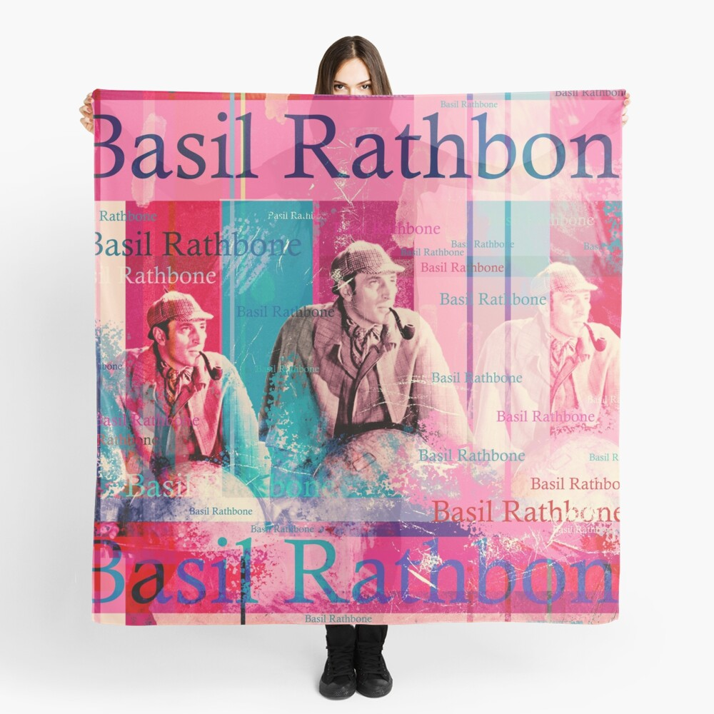 Literature adaptations and horror strips. The design by Mallybeau Mauswohn shows an aesthetic collage with a portrait of the actor Basil Rathbone in disguise of the Sherlock Holmes. A wonderful work of art for all film lovers and crime thrillers. I loo Scarf