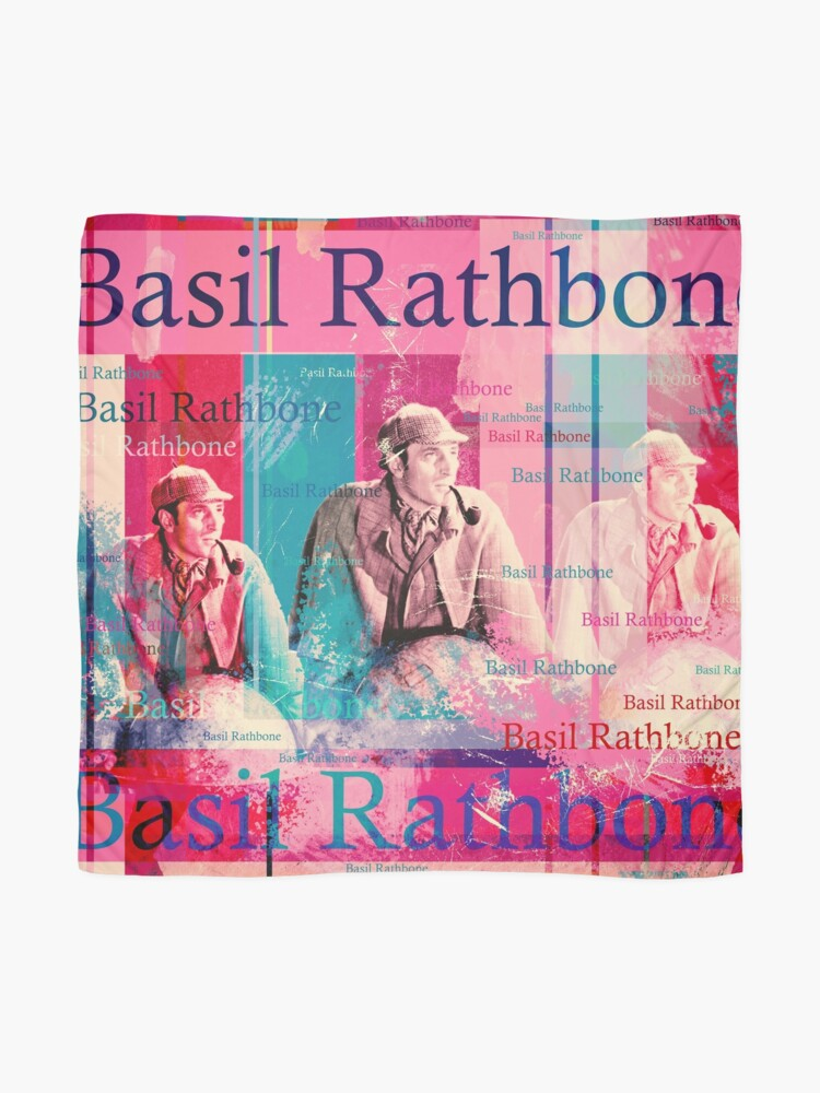 Alternate view of Literature adaptations and horror strips. The design by Mallybeau Mauswohn shows an aesthetic collage with a portrait of the actor Basil Rathbone in disguise of the Sherlock Holmes. A wonderful work of art for all film lovers and crime thrillers. I loo Scarf
