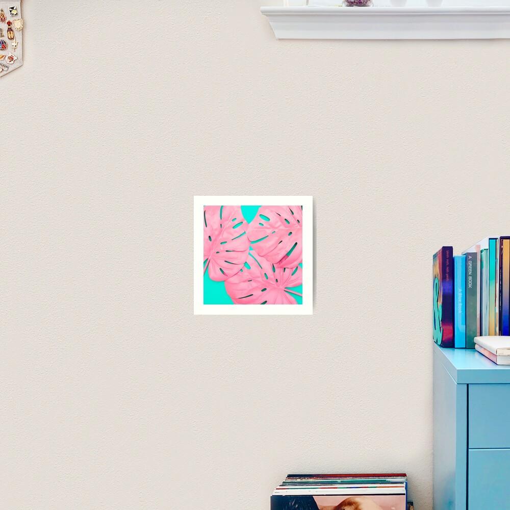 Pink Monstera Leaves Art Print