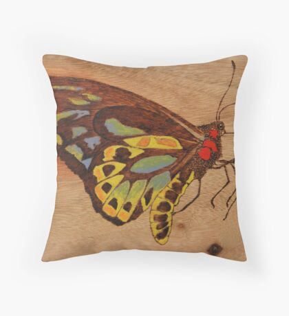 PYROGRAPHY: Richmond Birdwing Butterfly Throw Pillow