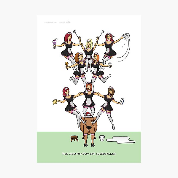 The Eighth Day of Christmas (8 Maids a-Milking) Photographic Print