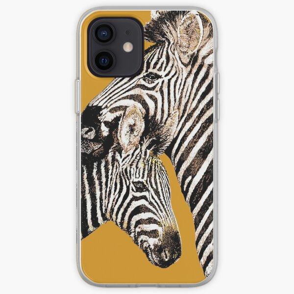 Zebra mother and baby zebra iPhone Soft Case