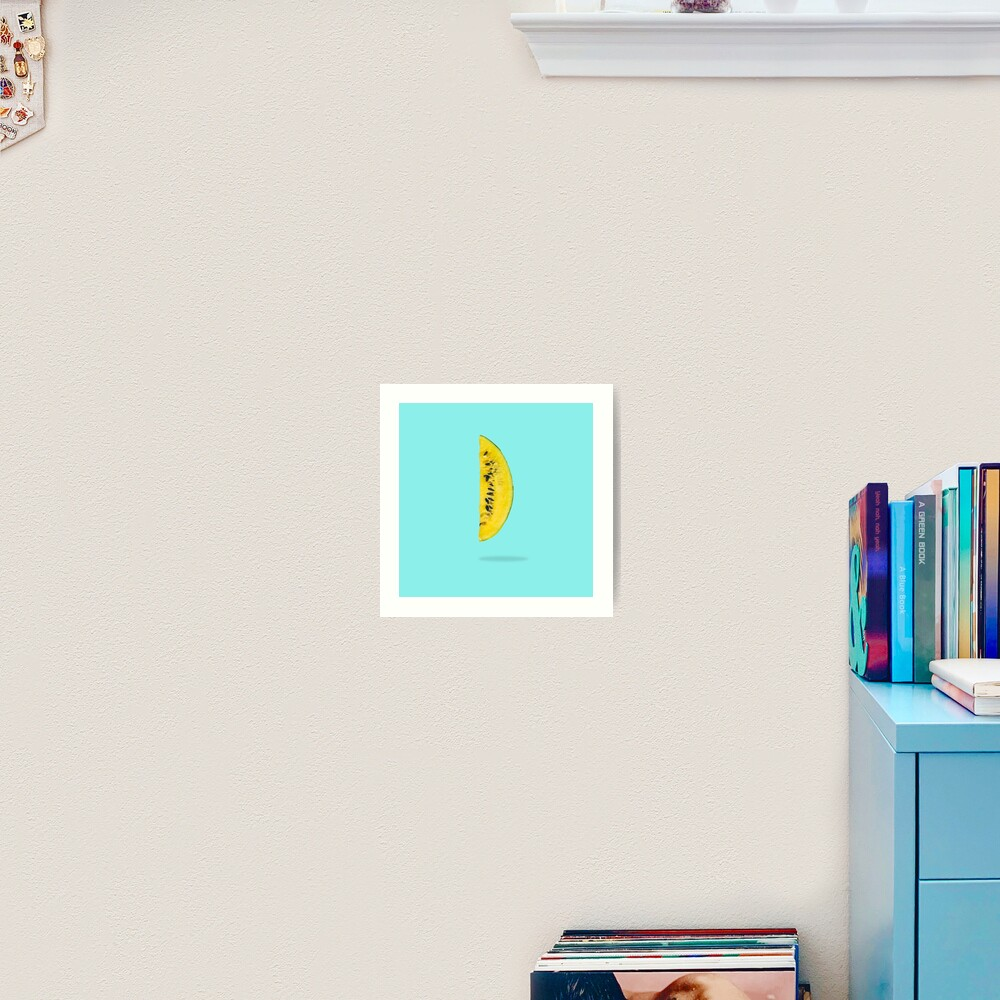 Yellow watermelon slice floating in the air  Art Print