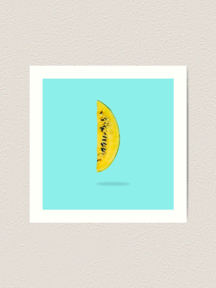 Alternate view of Yellow watermelon slice floating in the air  Art Print