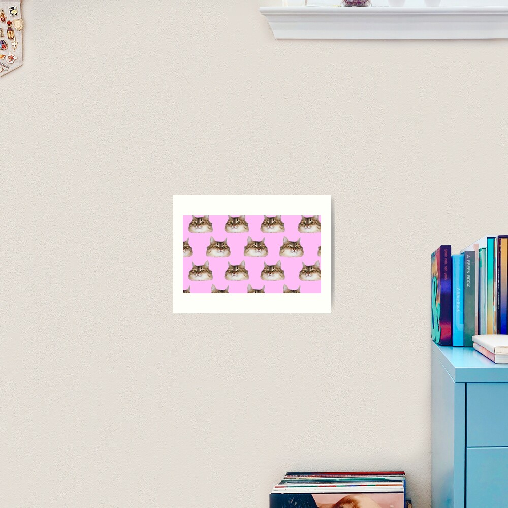 Funny cat's heads on pink Art Print