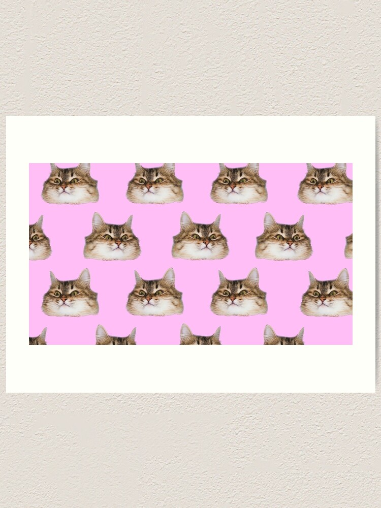 Alternate view of Funny cat's heads on pink Art Print