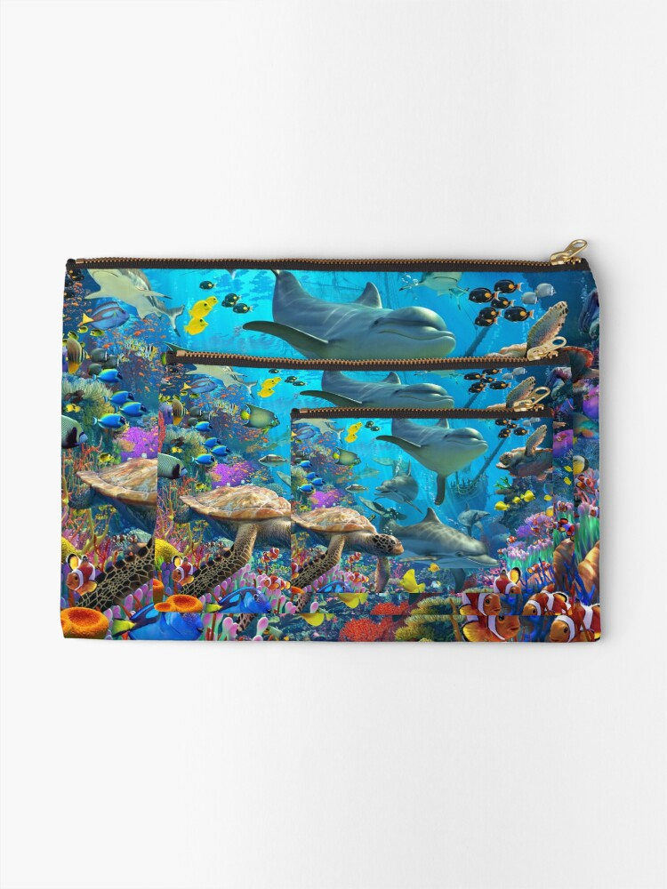 Alternate view of Dolphin Playground Zipper Pouch