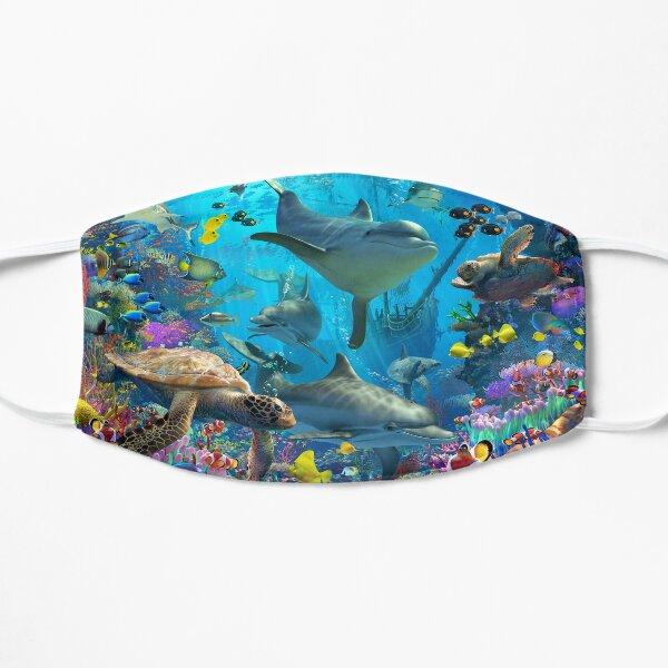 Parque infantil con delfines Mascarilla plana