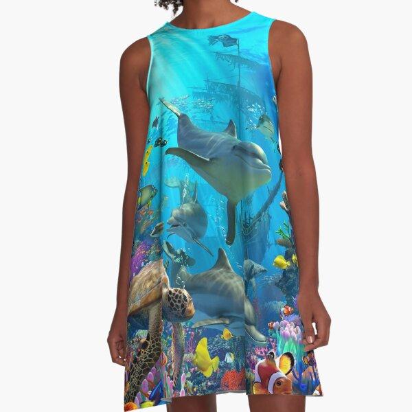 Dolphin Playground A-Line Dress