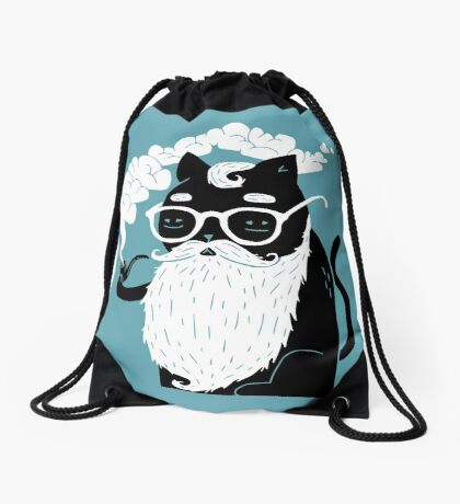 Whiskers And Pipe Drawstring Bag