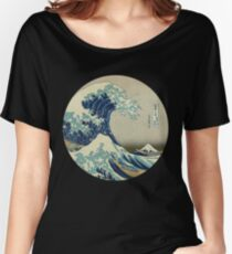 Great Wave off Kanagawa circle Women's Relaxed Fit T-Shirt