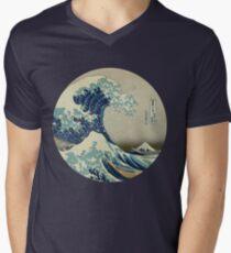 Camiseta para hombre de cuello en v Gran ola fuera del círculo de Kanagawa