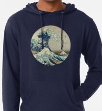Great Wave off Kanagawa circle Lightweight Hoodie