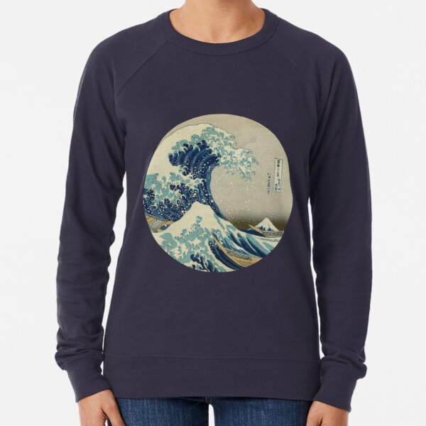 Great Wave off Kanagawa circle Lightweight Sweatshirt
