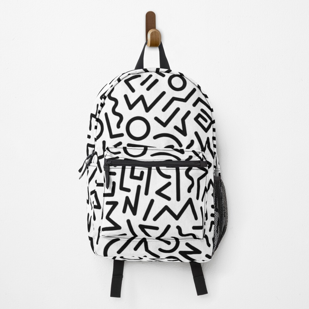 Memphis Pattern Black and White Backpack