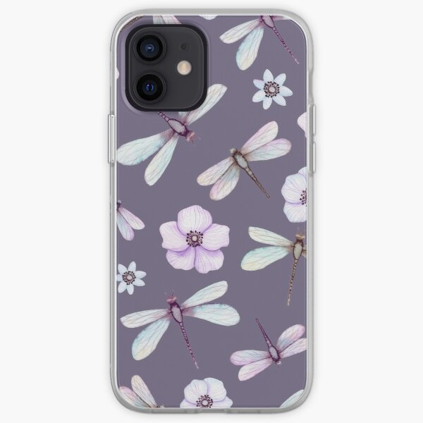 Watercolor Pink Dragonflies and Flowers iPhone Soft Case
