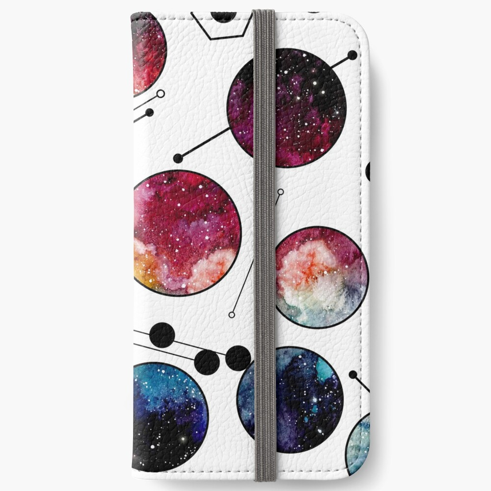 Watercolor Colorful Galaxy in Circles iPhone Wallet