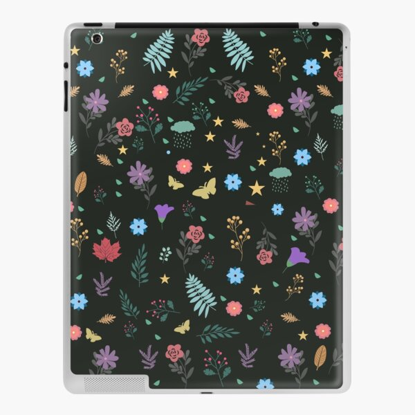 Midnight Blue Blossoming Floral Pattern iPad Skin