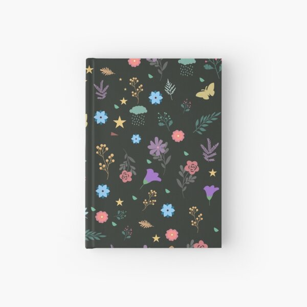 Midnight Blue Blossoming Floral Pattern Hardcover Journal