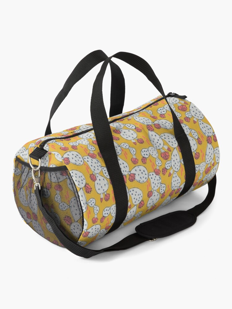 Alternate view of Coral Flowering Cactus on Mustard Yellow Duffle Bag