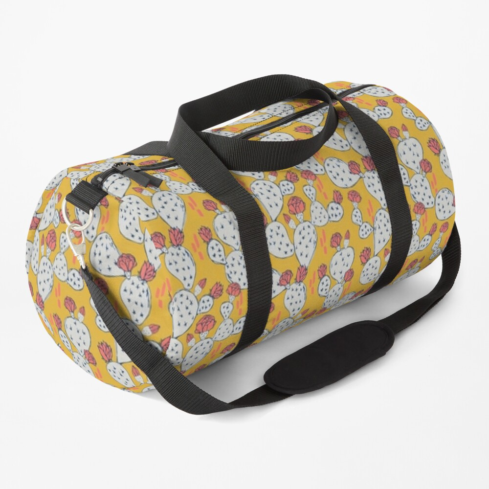 Coral Flowering Cactus on Mustard Yellow Duffle Bag