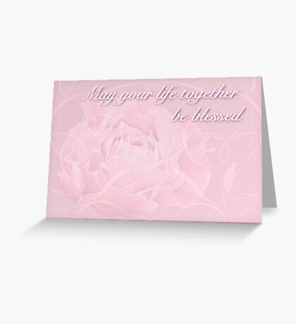 Wedding Blessings Greeting Card - Pink Peony Greeting Card