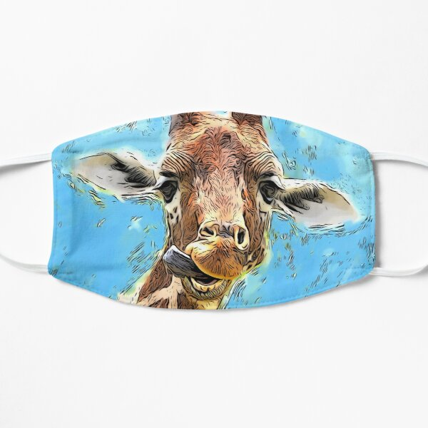 Funny Giraffe with Blue Background Flat Mask