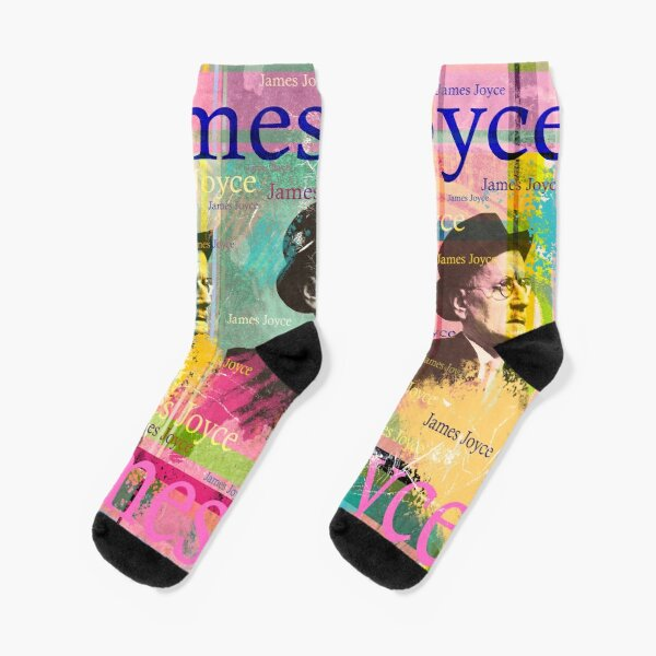 """""""Dubliner"""" and """"Finnegans Wake"""" known. He is considered one of the most important representatives of literary modernism. The design by Mallybeau Mauswohn shows an aesthetic collage with a portrait of the writer James Joyce. A wonderful work of art for a Socks"""
