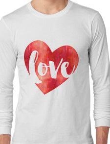 WATERCOLOUR LOVE HEART modern brush script typography T-Shirt