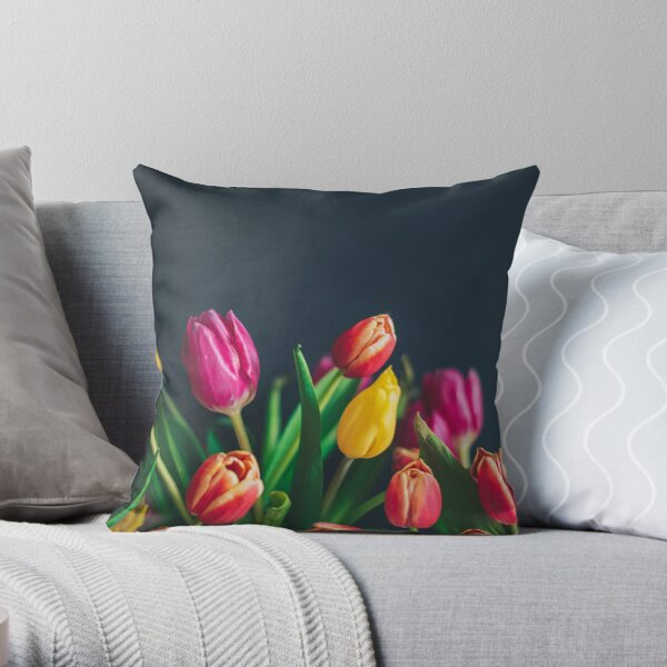 Colorful Tulips In Bloom Throw Pillow