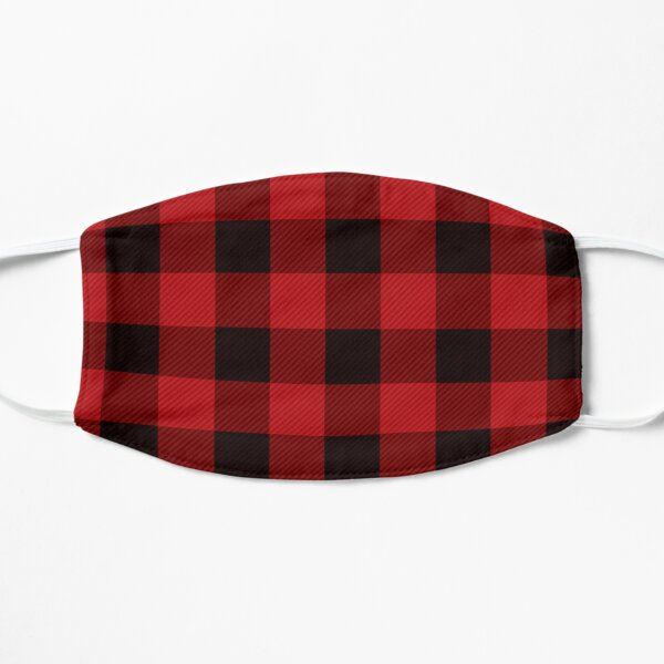 Red Plaid Print Cool Red & Black Flannel Pattern Nice Checkered Gift Mask