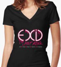 EXID Pink Tailliertes T-Shirt mit V-Ausschnitt