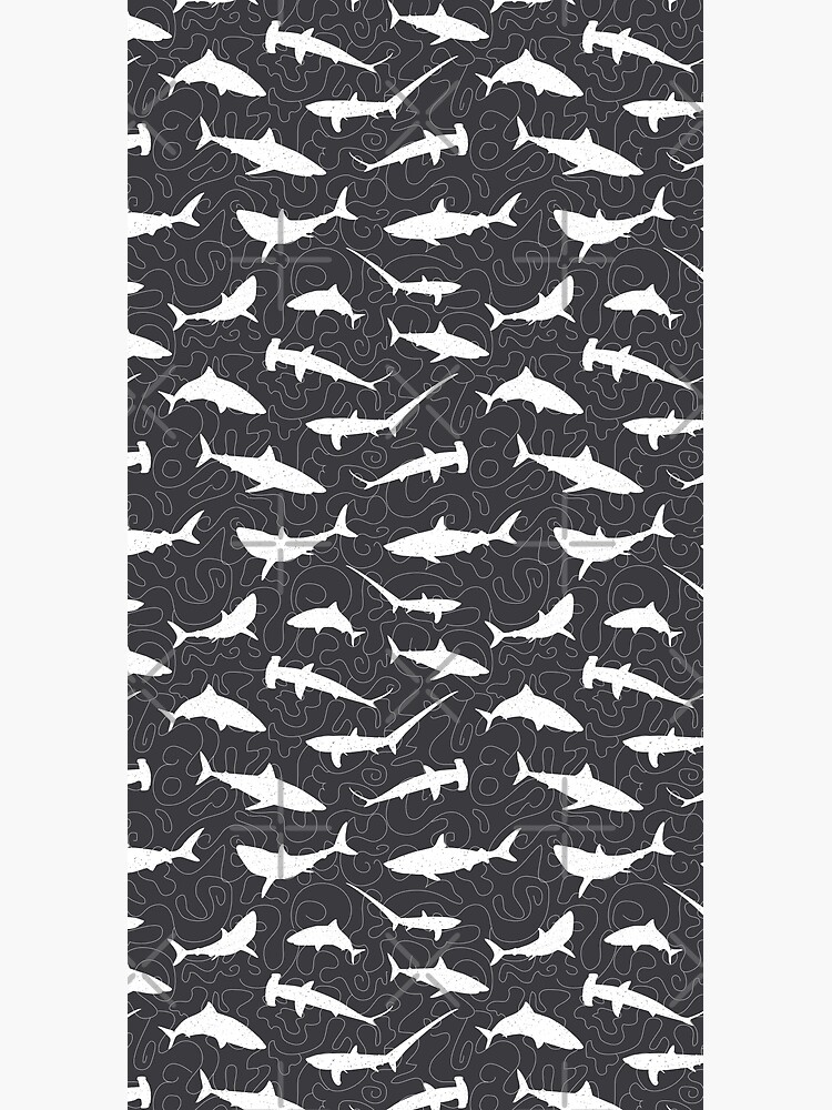 Shark Frenzy Pattern on Charcoal Grey by CreativeTwins