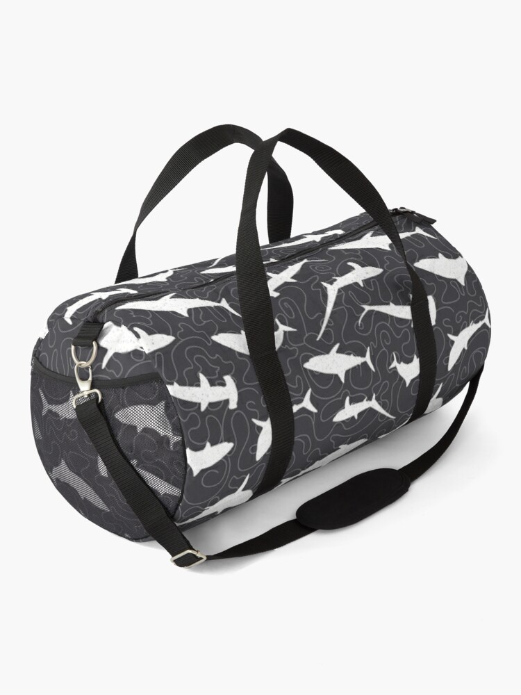 Alternate view of Shark Frenzy Pattern on Charcoal Grey Duffle Bag