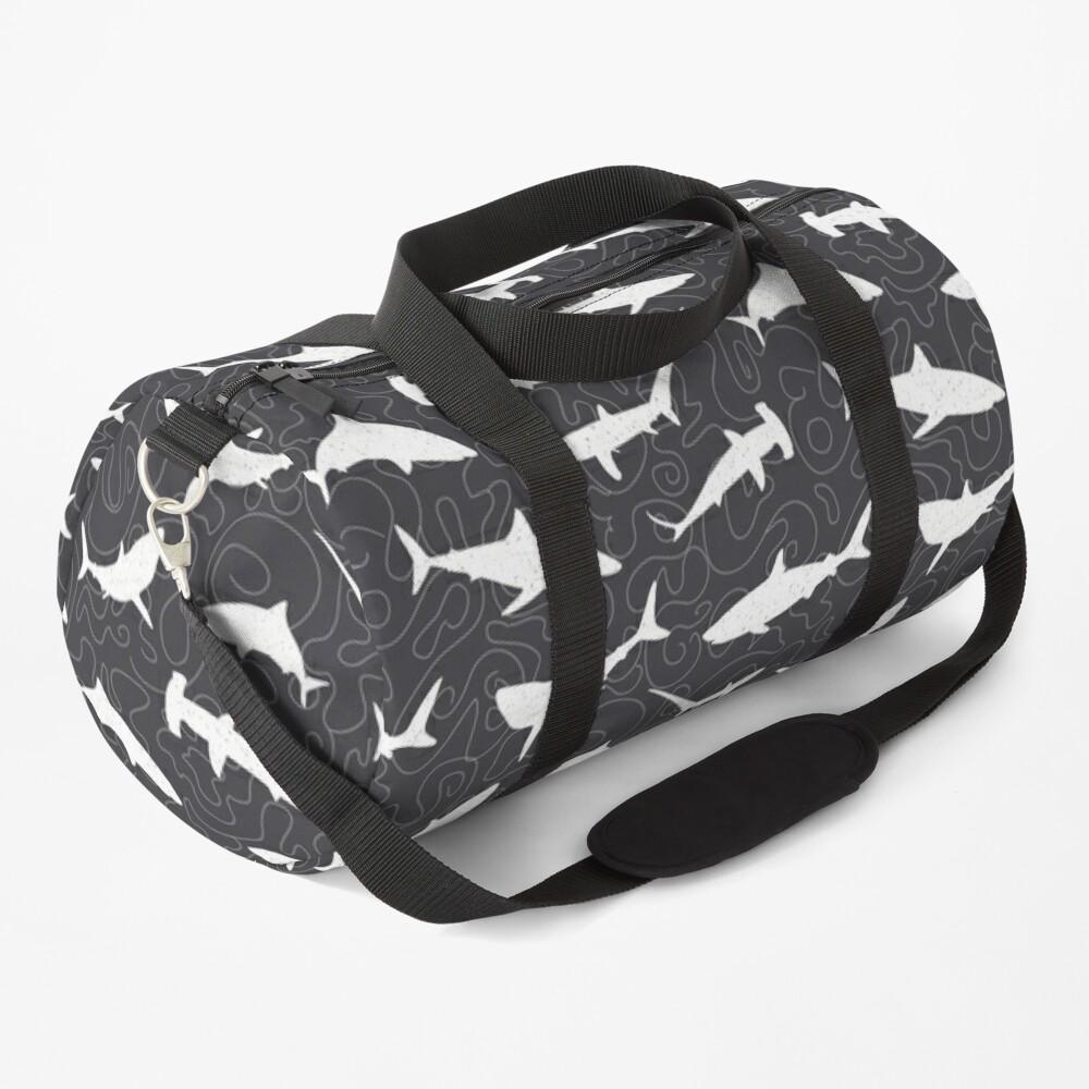 Shark Frenzy Pattern on Charcoal Grey Duffle Bag