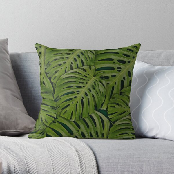 Tropical Leaves Monstera Throw Pillow
