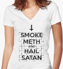 Smoke Meth and Hail Satan  Women's Fitted V-Neck T-Shirt