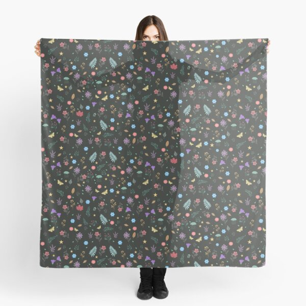 Midnight Blue Blossoming Floral Pattern Scarf