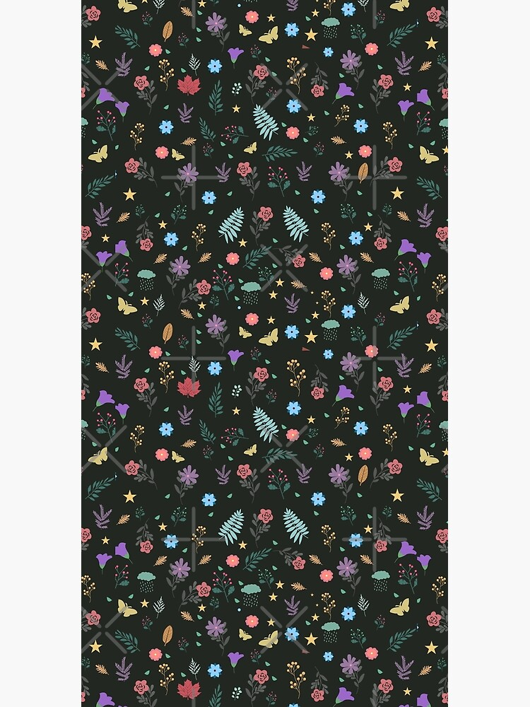 Midnight Blue Blossoming Floral Pattern by chanzds