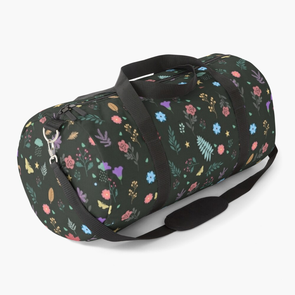 Midnight Blue Blossoming Floral Pattern Duffle Bag