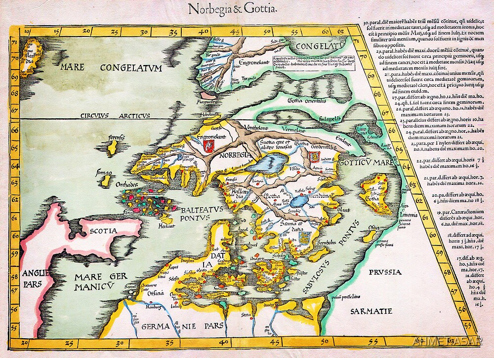 1541 WALDSEEMÜLLER Map of Scandinavia (Norbegia Gottia) Geographicus NorbegiaGottia waldseemuller 1541 by MotionAge Media